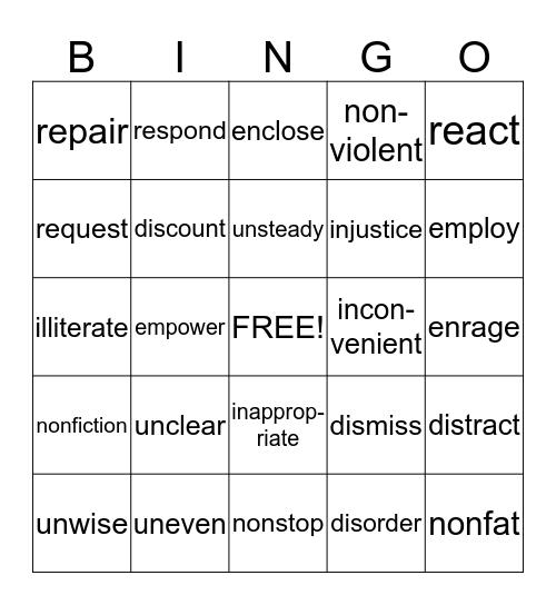 Prefix Bingo Card