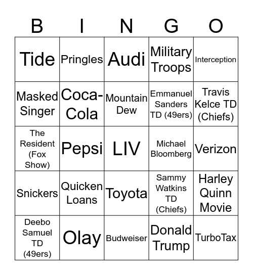 Super Bowl Bingo LIV Bingo Card