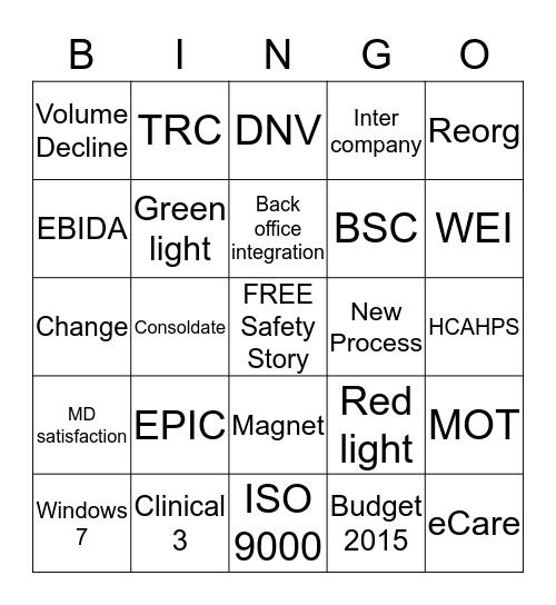 SRMH Bingo Card