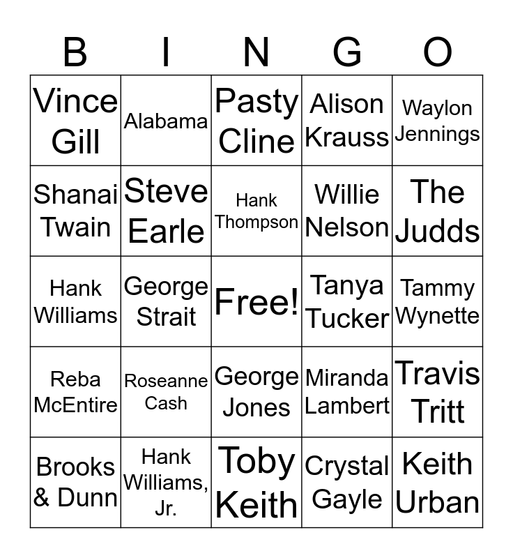 Country Music Bingo Card