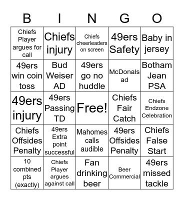 Super Bowl BINGO! Bingo Card