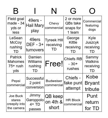 SUPER BOWL LIV Bingo Card