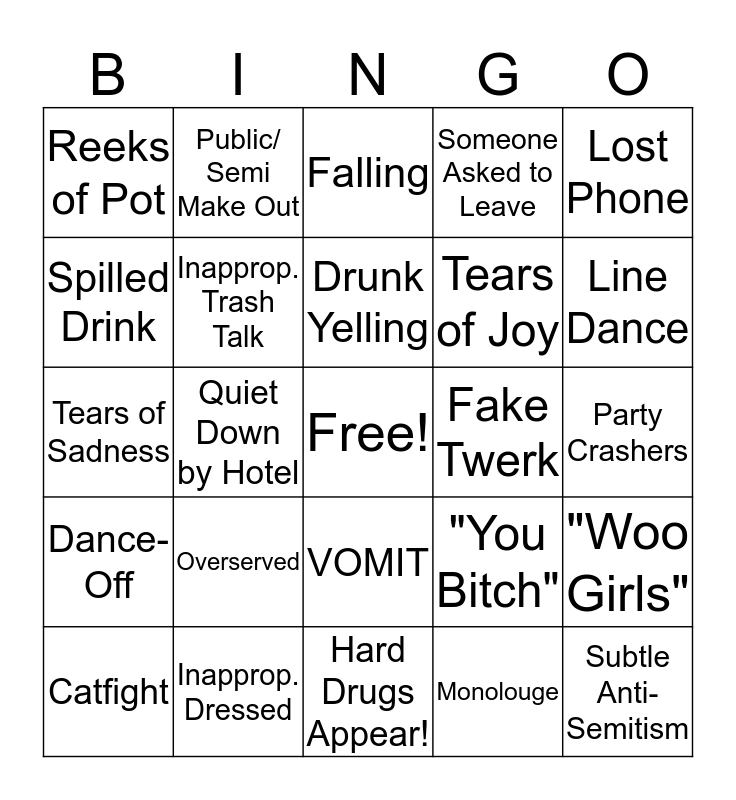 Staff Party Bingo Card