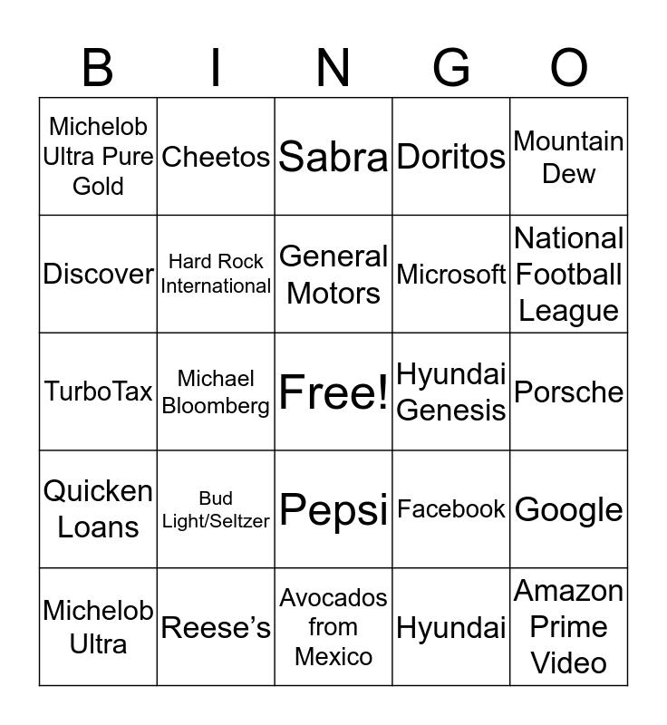 Super Bowl Commercials 2020 Bingo Card