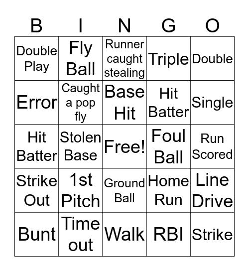 Softball Bingo  Bingo Card