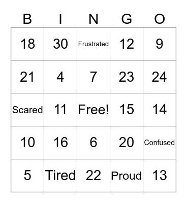 Numbers & Emotions Bingo Card