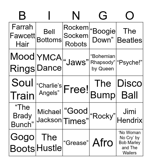 70s Bingo Card