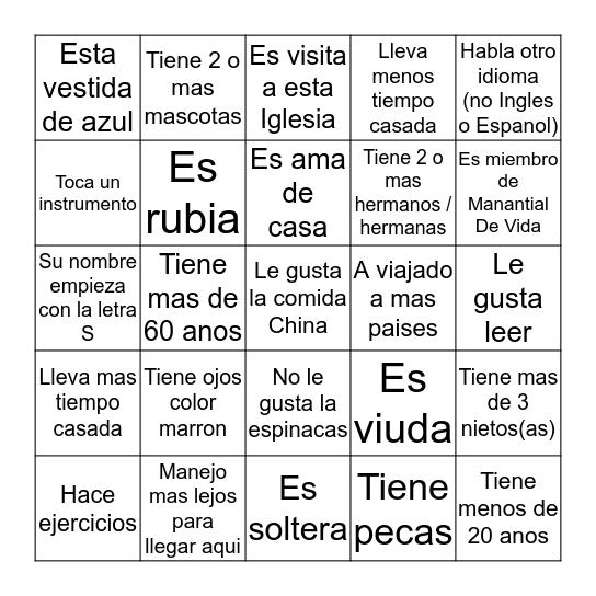 Retiro de Mujeres en Accion 2014 Bingo Card