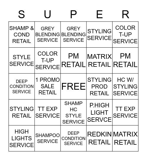 Service/Retail Bingo Card