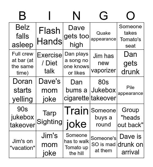 Cranks Crew Bingo Card