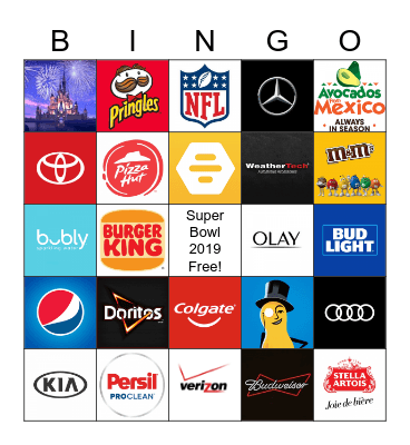 Super Bowl 2020 Bingo Card