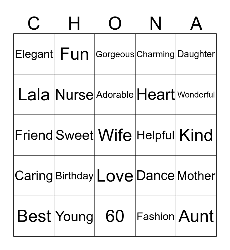 Chona's Birthday Bingo Card