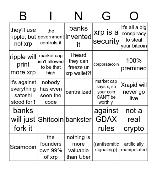 XRP FUD BINGO (beta) Bingo Card