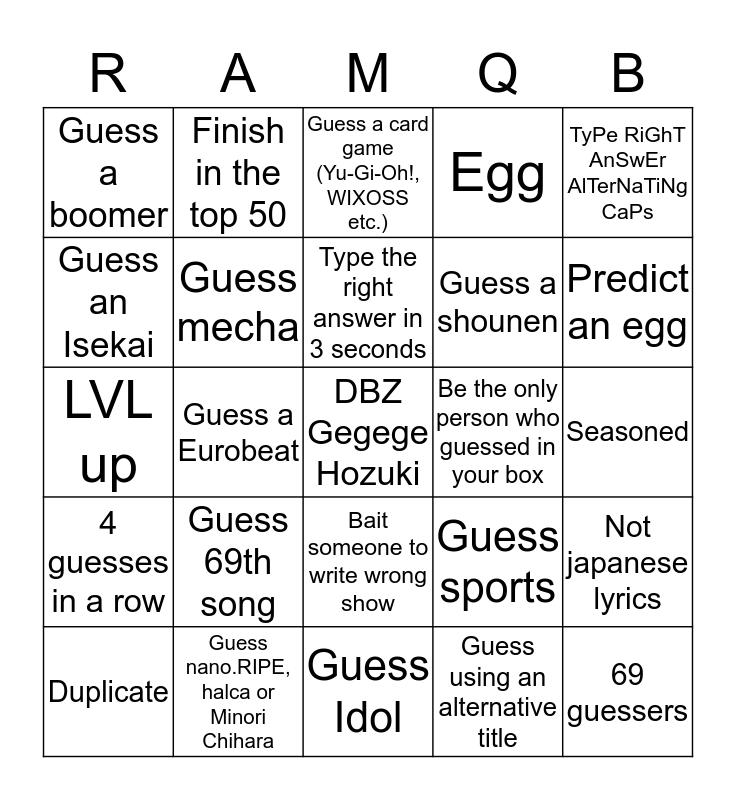 Ranked AMQ Bingo 1.1 Bingo Card