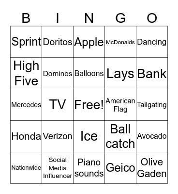 Superbowl Ads Bingo Card