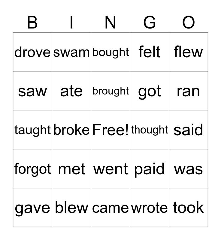 Irregular verbs Bingo Card