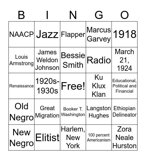Harlem Renaissance Bingo Card