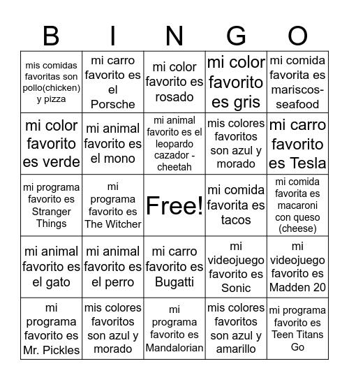 6-3 Favoritos 2019-2020 Bingo Card