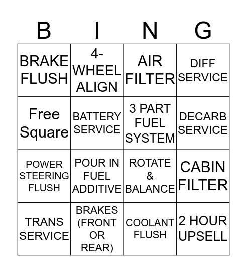 Automotive Bingo Card