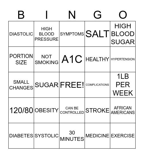 GOOD HEALTH Bingo Card