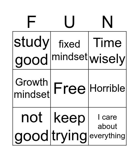 Fixed and Growth mindset Bingo Card
