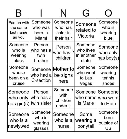 Welcome Baby Orem Bingo Card