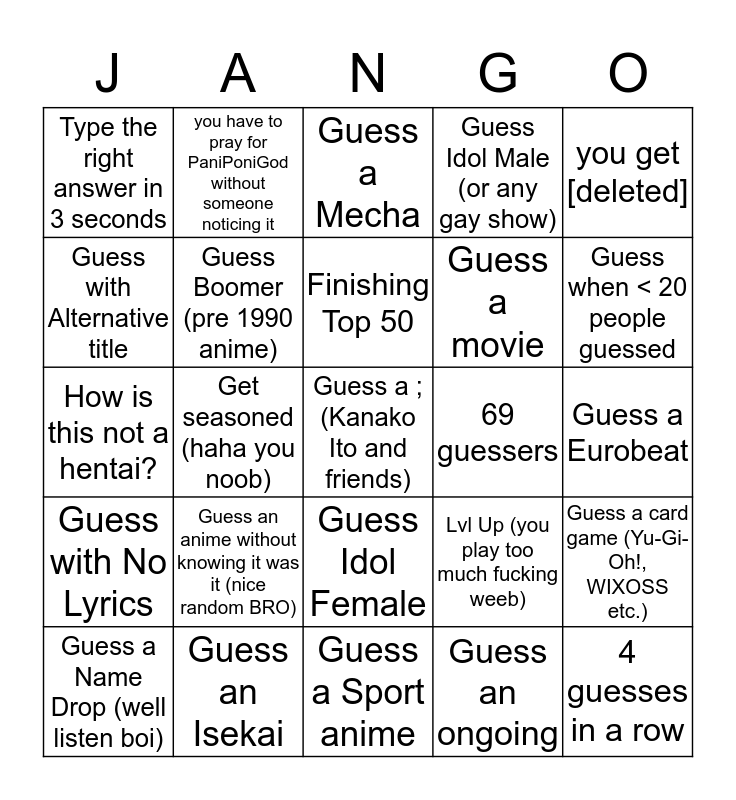 AMQ Ranked Bingo ver 1.2 Bingo Card