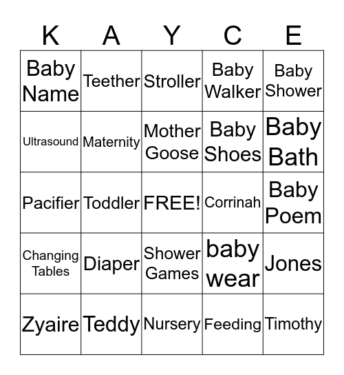 SCREAMING KAYCE BINGO! Bingo Card