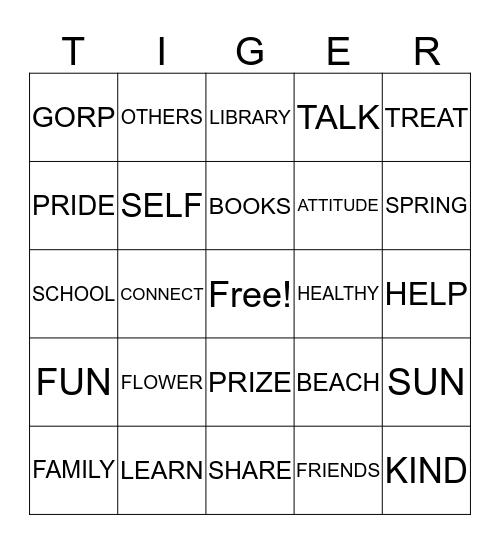 Tiger Pride Family Bingo Card