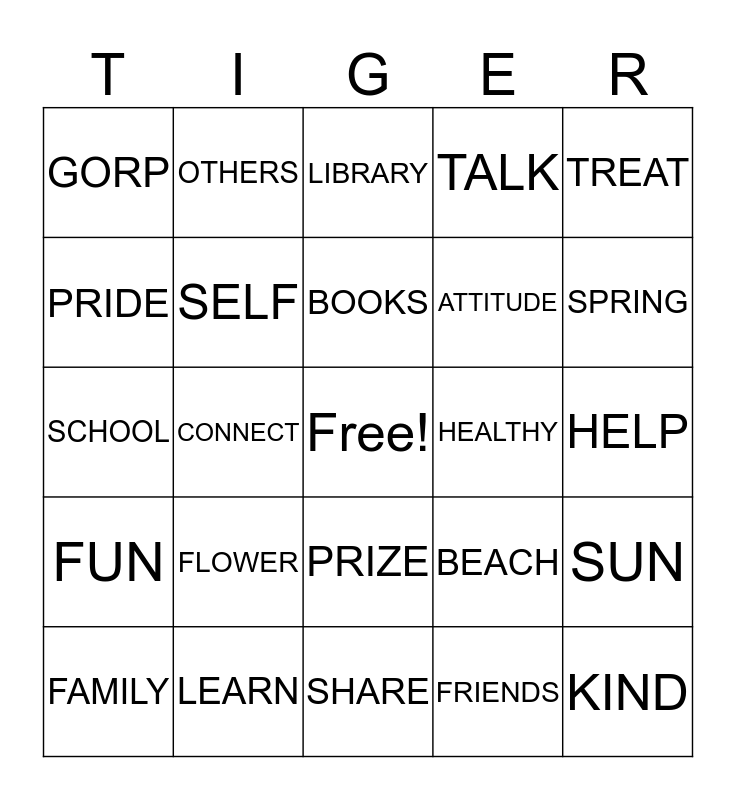 Tiger Pride Family Bingo Card