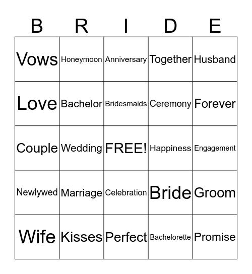 Stephanie's Bridal Shower Bingo Card