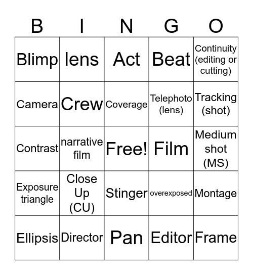Film Terms (Game 5) Bingo Card