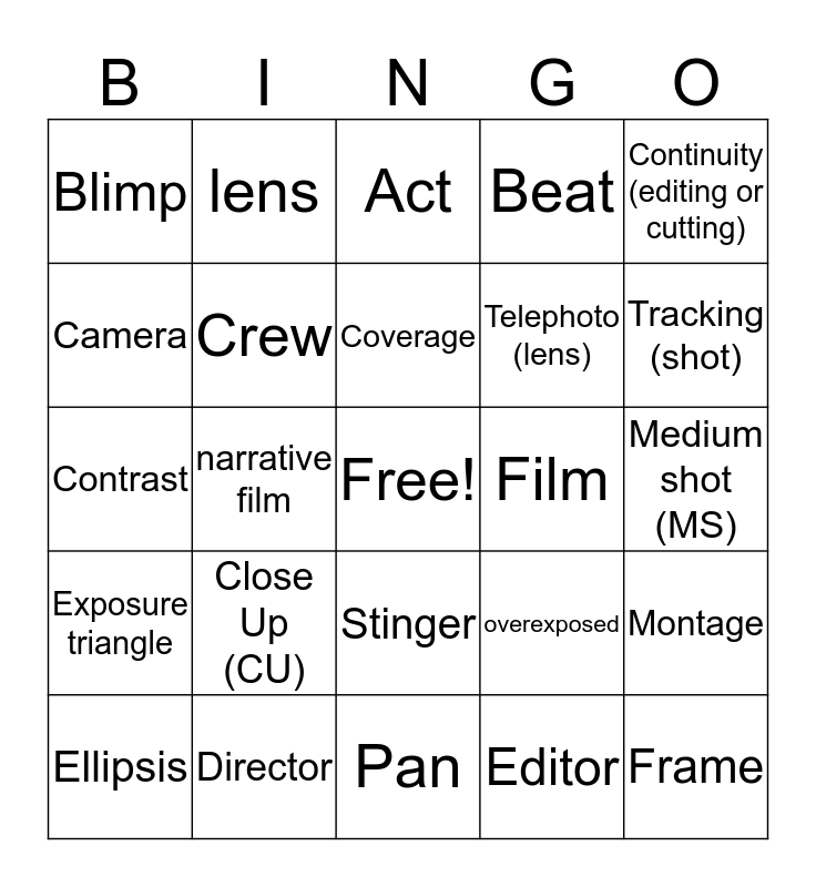 Film Terms (Game 5) Bingo Card