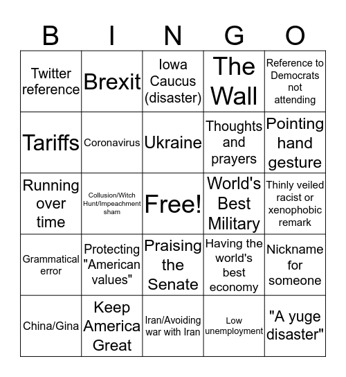 2020 SOTU  Bingo Card