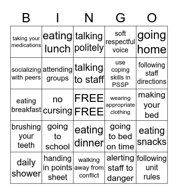 Hospital Goals Bingo Card