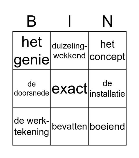 Woordenschat thema 5 Bingo Card