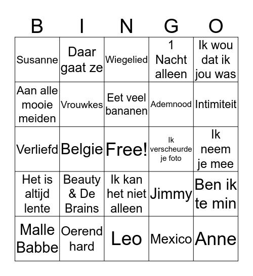 Muziekbingo Barchvenne Bingo Card