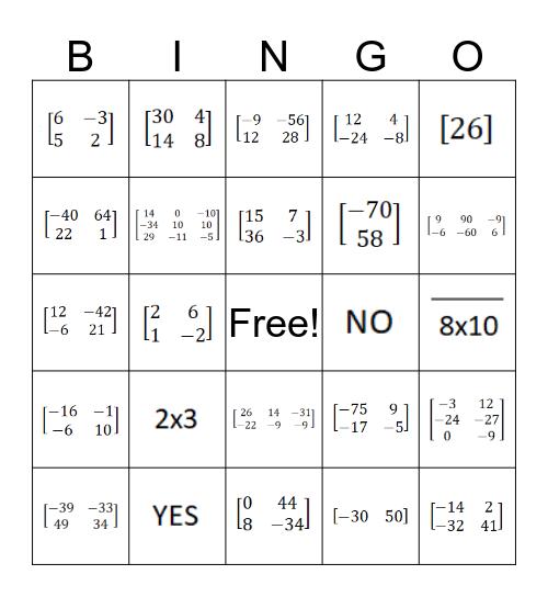 Matrix Multiplication Bingo Card