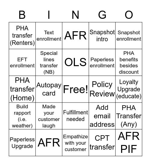 CRA BINGO! Bingo Card