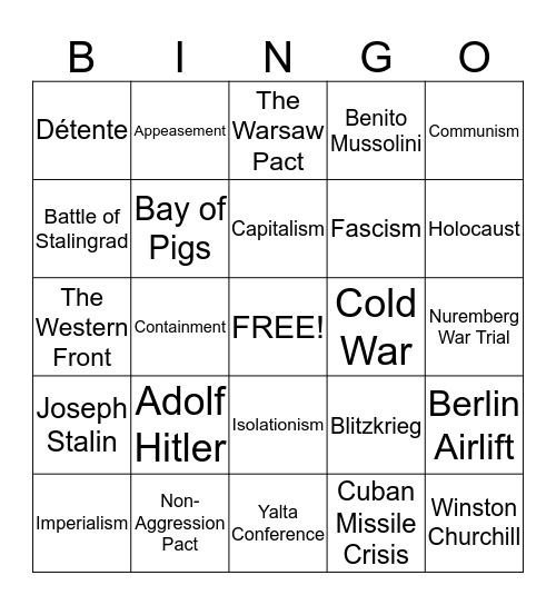 MWH Review Bingo Card