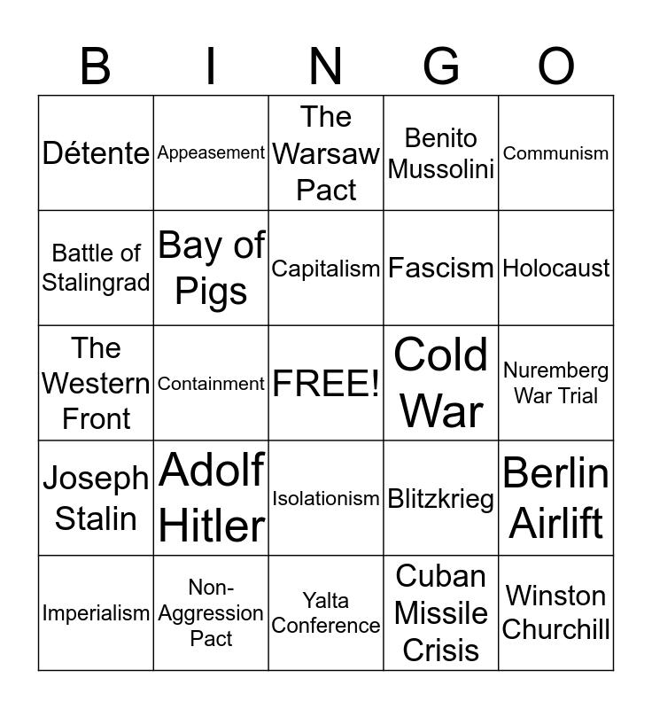 MWH Review Bingo Card