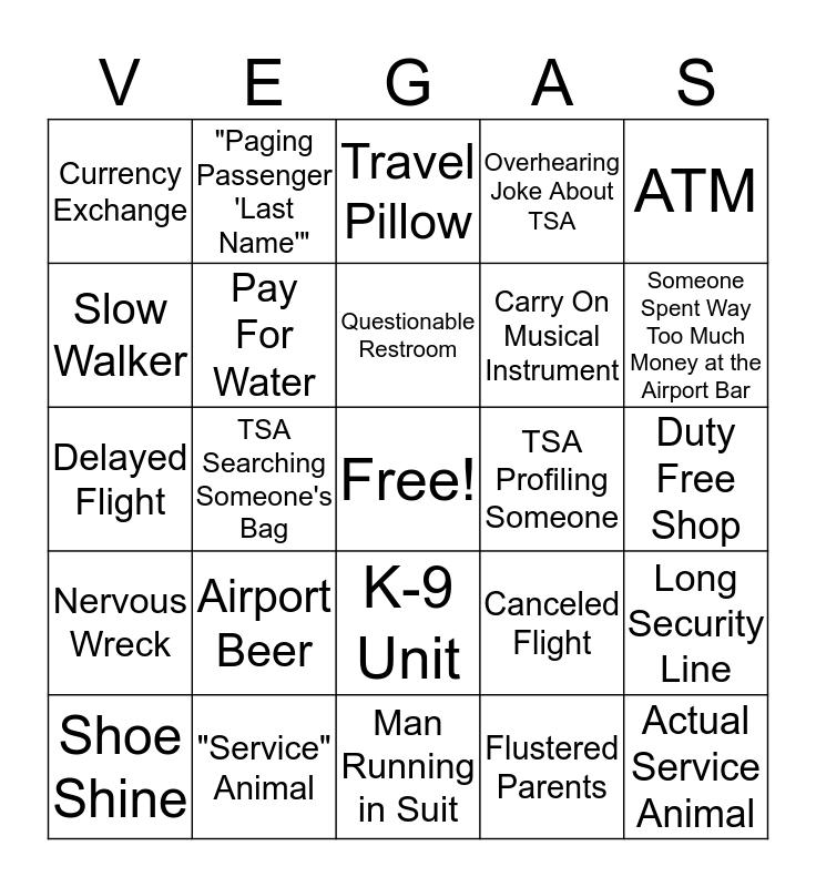 Airport Bachelor(ette) Bingo Card