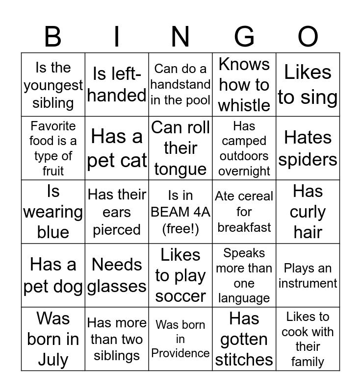 BEAM Bingo Card