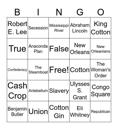 Q2 Test 1 Review Part 1 Bingo Card