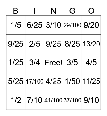 Fraction to Decimal Bingo Card