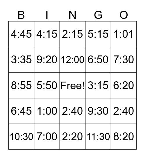 La hora Bingo Card