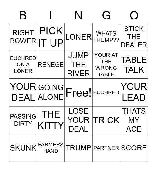 euchre Bingo Card