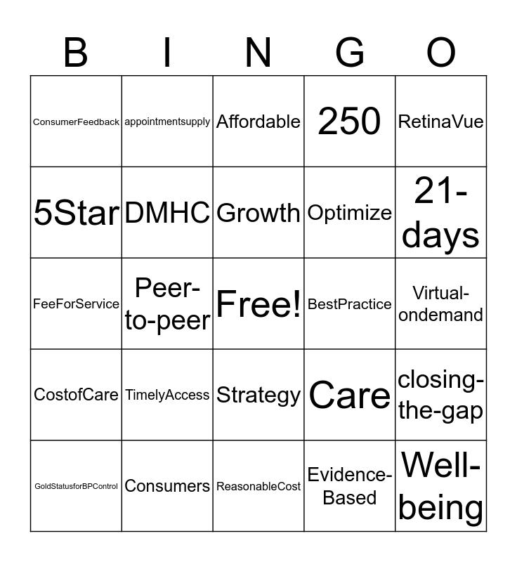Vision 2025 Bingo Card