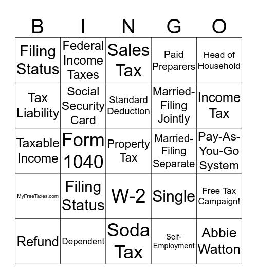 Tax Bingo Card