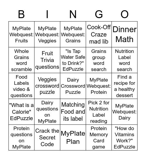 Nutrition Bingo! Bingo Card